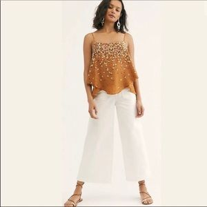 Free People Colette Wide Leg Ivory Cropped Jeans